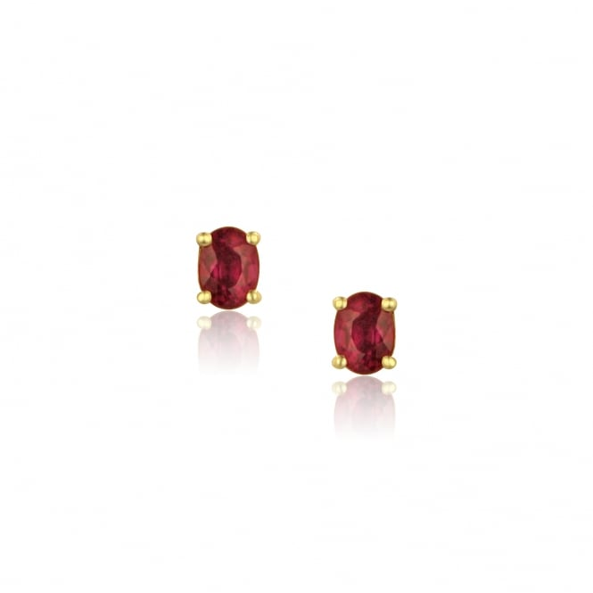 18ct Yellow Gold 4x3mm Ruby Stud Earrings