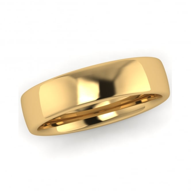 18ct Yellow Gold 5mm Court Wedding Ring (Medium Weight)