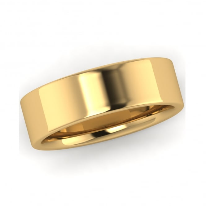 18ct Yellow Gold 6mm Flat Top Inner Court Wedding Ring (Medium Weight)