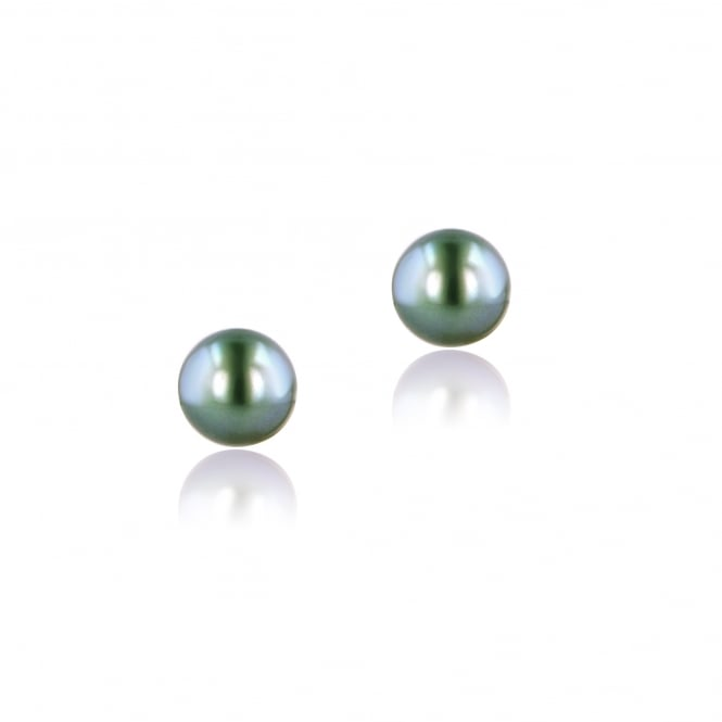 18ct Yellow Gold 9-10mm Black Tahitian Pearl Studs