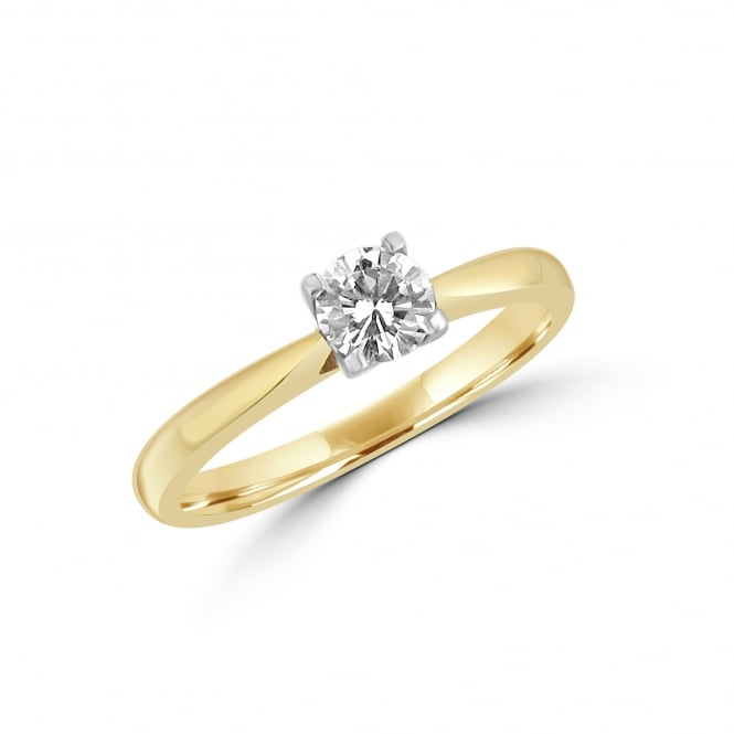 18ct Yellow Gold HRD Certified 0.41ct Round Diamond Engagement Ring