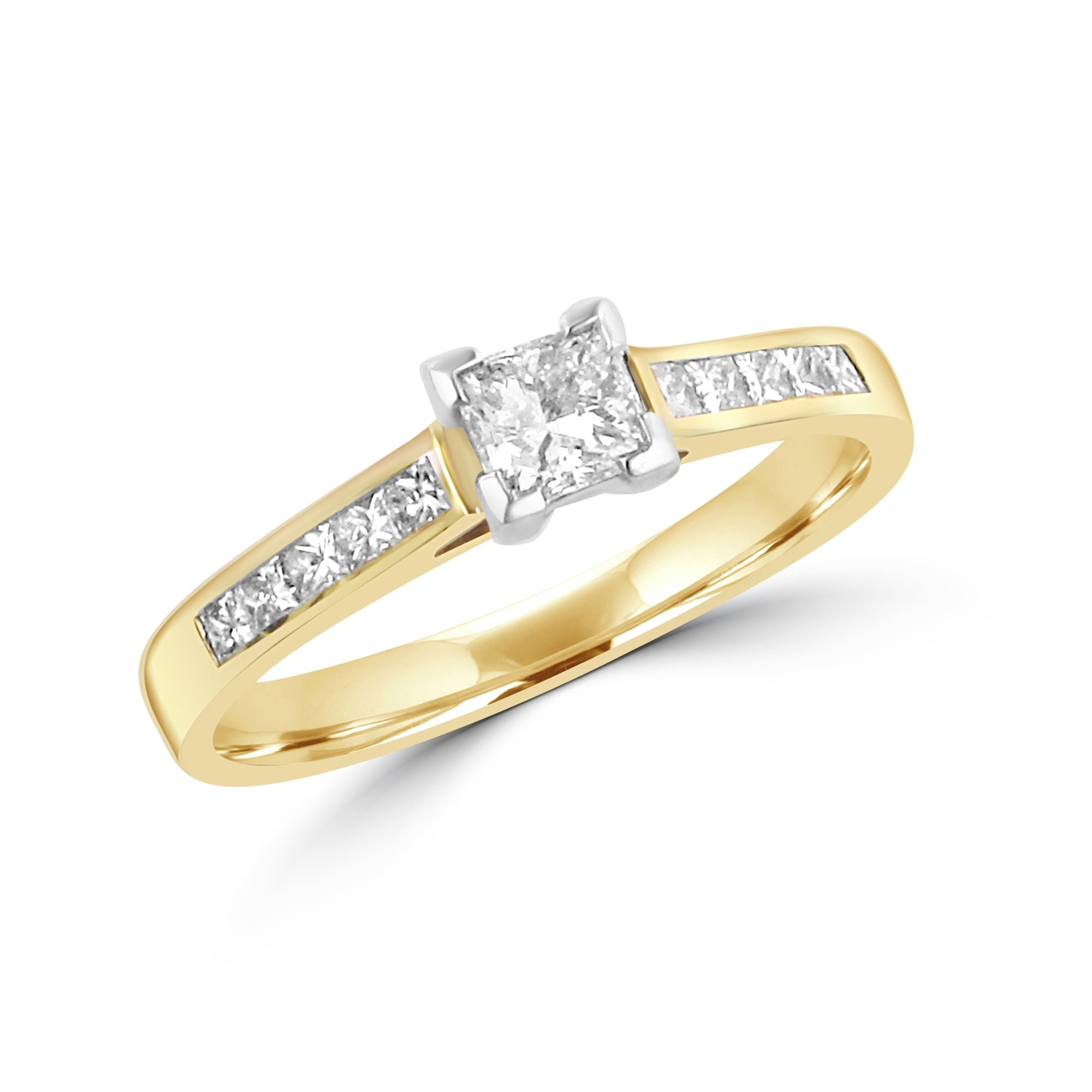 halo gold engagement square cttw g white ring h rings cut diamond princess
