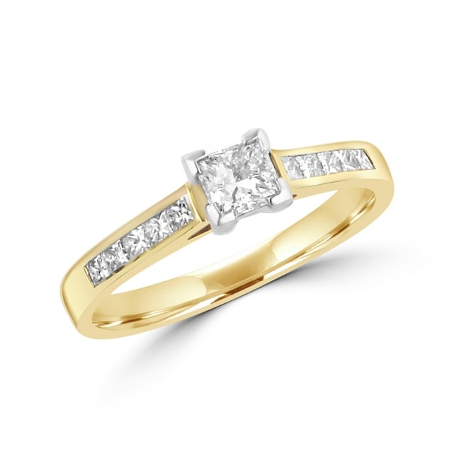 18ct Yellow Gold Princess Cut Diamond Engagement Ring With Diamond Set Band