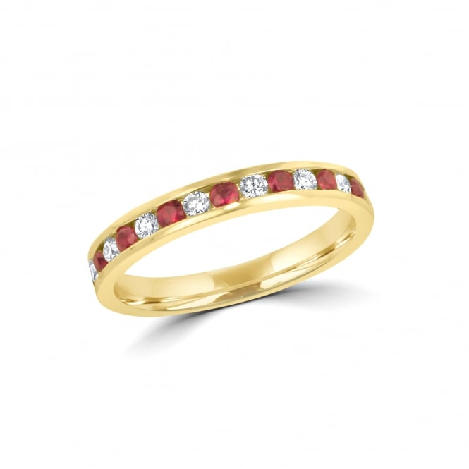 18ct Yellow Gold Ruby and Diamond Eternity Ring RYT3770