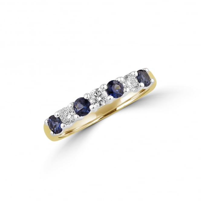 18ct Yellow Gold Sapphire and Diamond Seven Stone Ring RMT34351