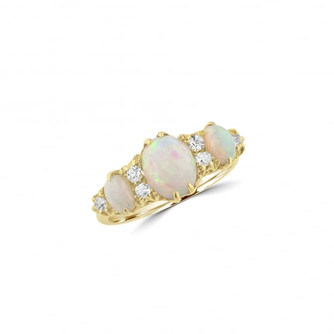 18ct Yellow Gold Three Opal and Diamond Ring RYD36407