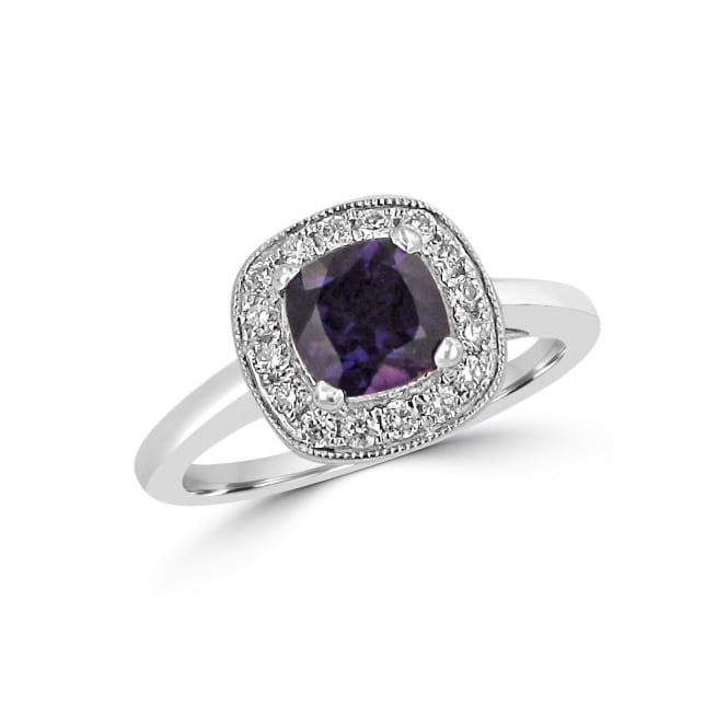 1ct Amethyst and Diamond Cluster Ring in 18ct White Gold