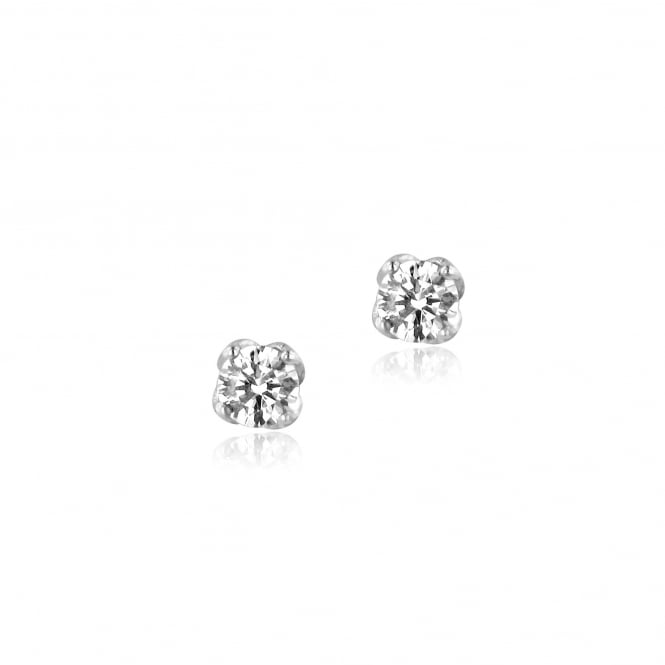 1ct Round Diamond Earrings in 18ct White Gold