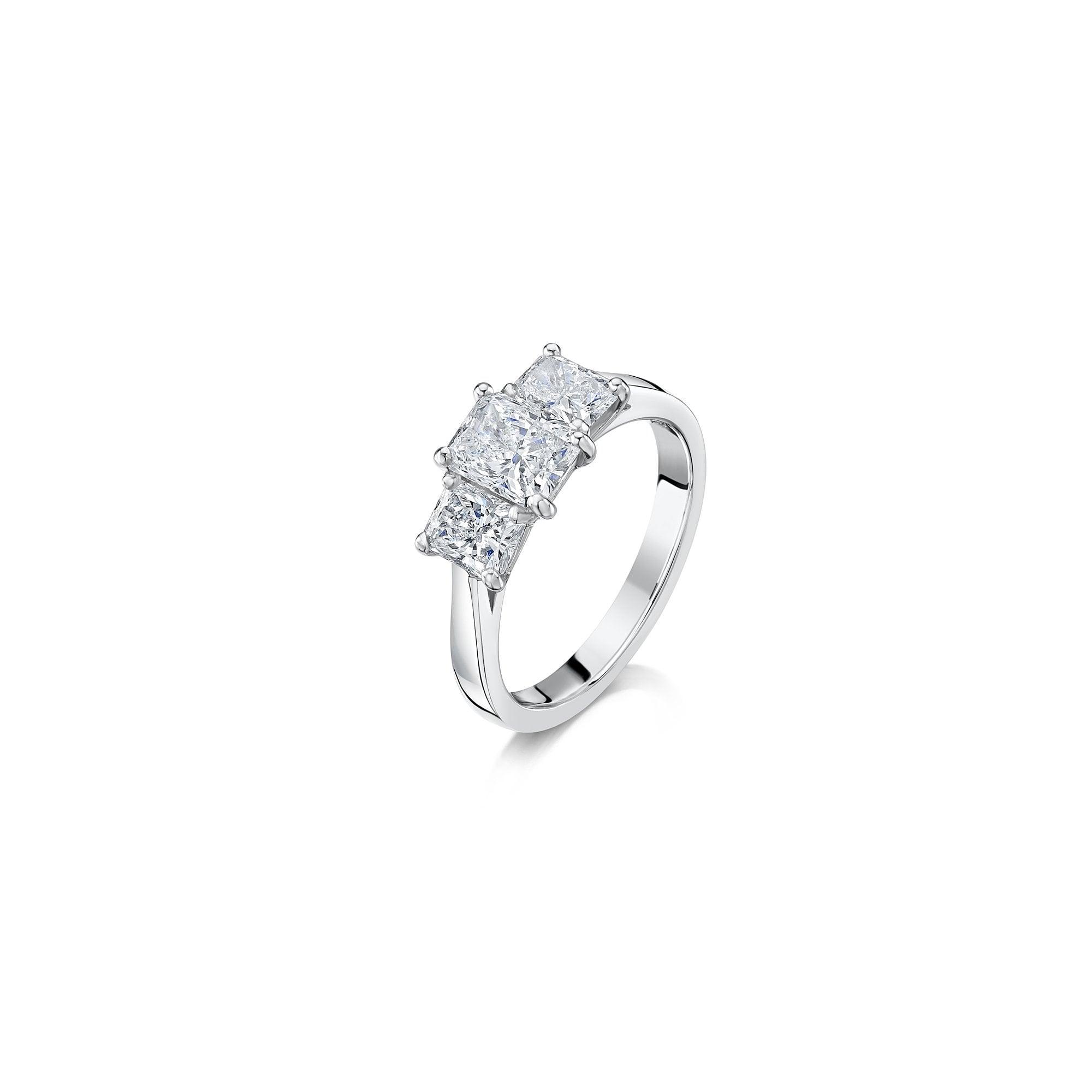 6d320be0430 2.08ct Three Stone Radiant Cut Diamond Ring in Platinum