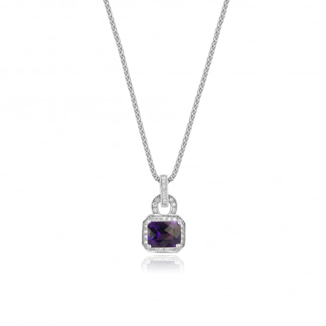 2.17ct Amethyst and Diamond 18ct White Gold Necklace