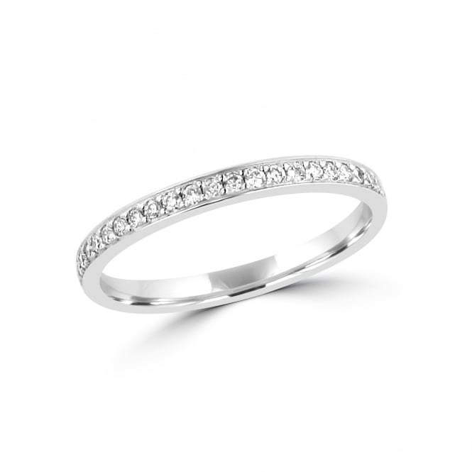 2.2mm Wide Round Diamond Platinum grain Set Vintage Inspired Wedding Ring