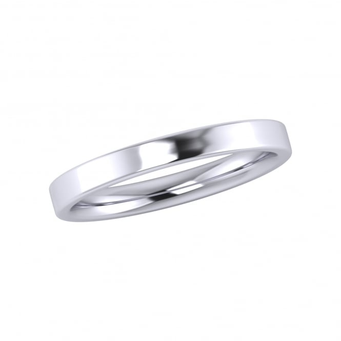 2.5mm 18ct White Gold Flat Top Inner Court Wedding Ring (Medium Weight)