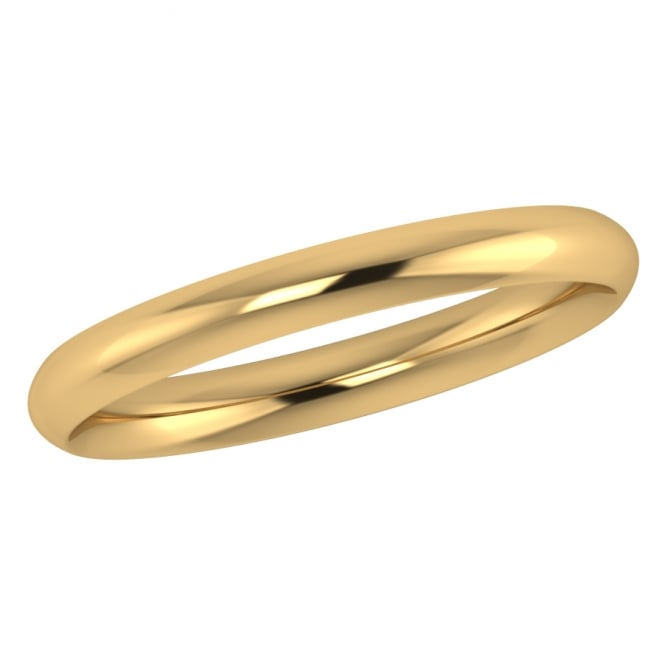 2.5mm 18ct Yellow Gold Traditional Court Wedding Ring