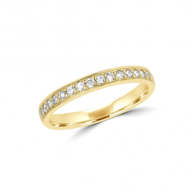 2.7mm Court Grain Set Round Diamond 18ct Yellow Gold Wedding Ring