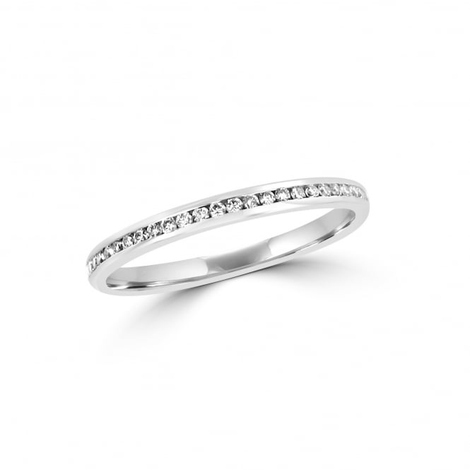 2mm 18ct White Gold Wedding Ring with Round Diamonds 0.13ct Total