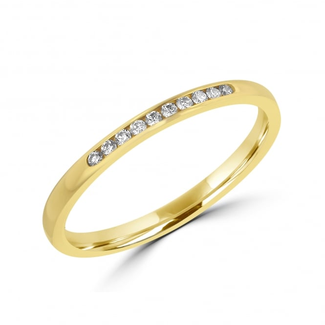 2mm Gold and Round Diamond Band Ring RYT35446