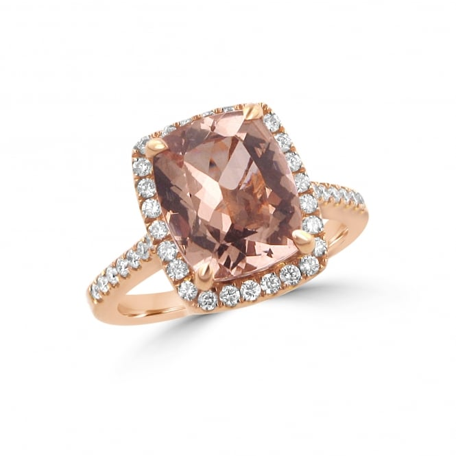 3.55ct Morganite and Diamond Cluster Ring
