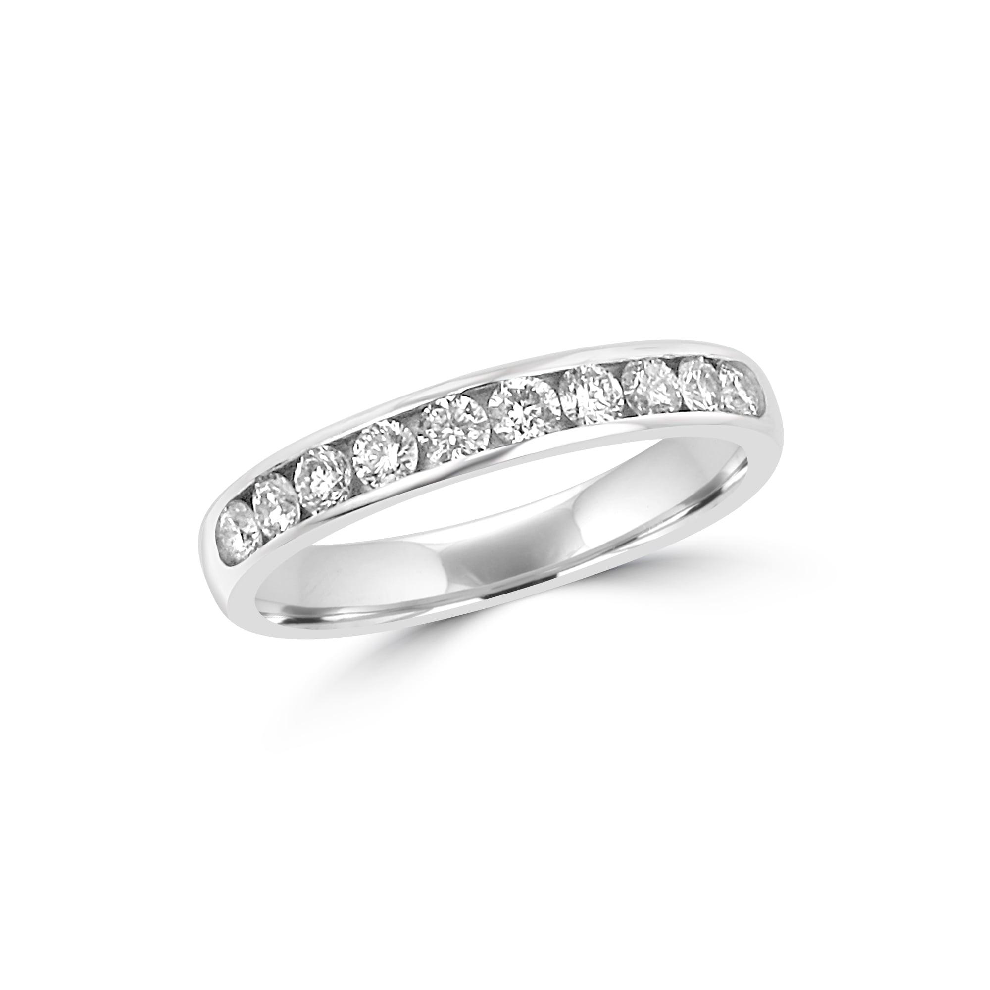 3 5mm Court Round Diamond Platinum Wedding Ring Womens from