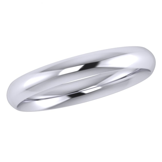 3mm 18ct White Gold Traditional Court Wedding Ring