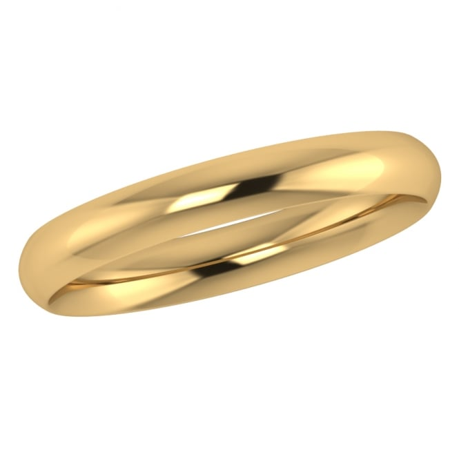 3mm 18ct Yellow Gold Traditional Court Wedding Ring