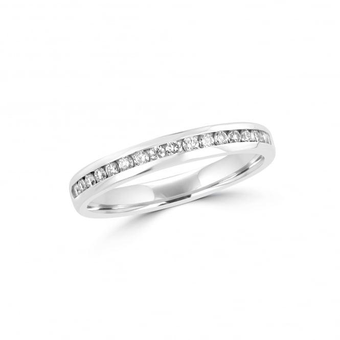 3mm Wide 0.24ct Round Diamond 18ct White Gold Wedding Ring