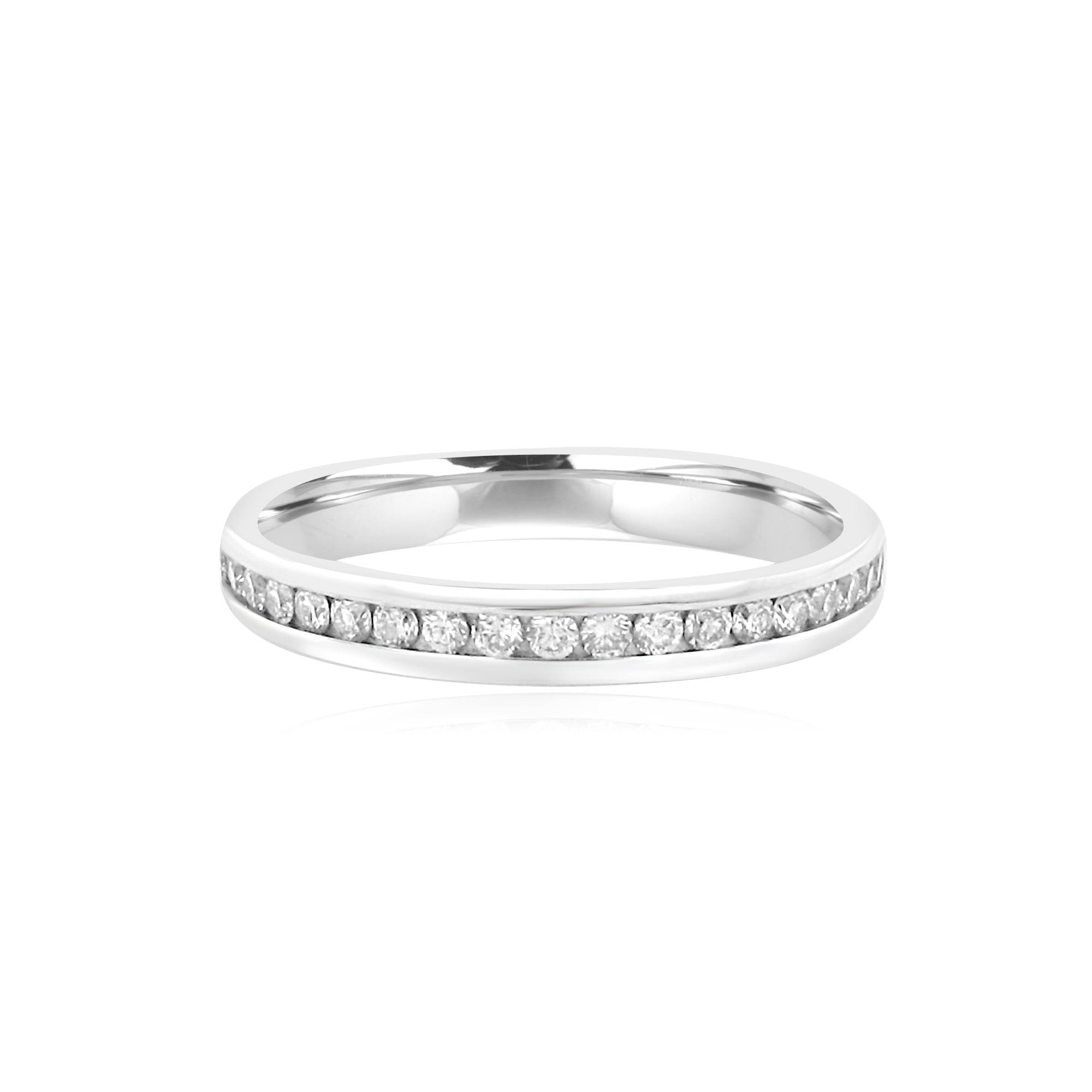 3mm Wide 024ct Round Diamond 18ct White Gold Wedding Ring Womens