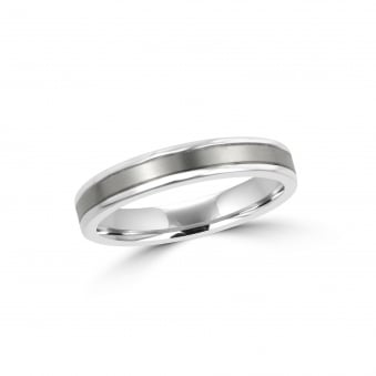 4mm Matt and Polished Titanium Wedding Ring RTW30160