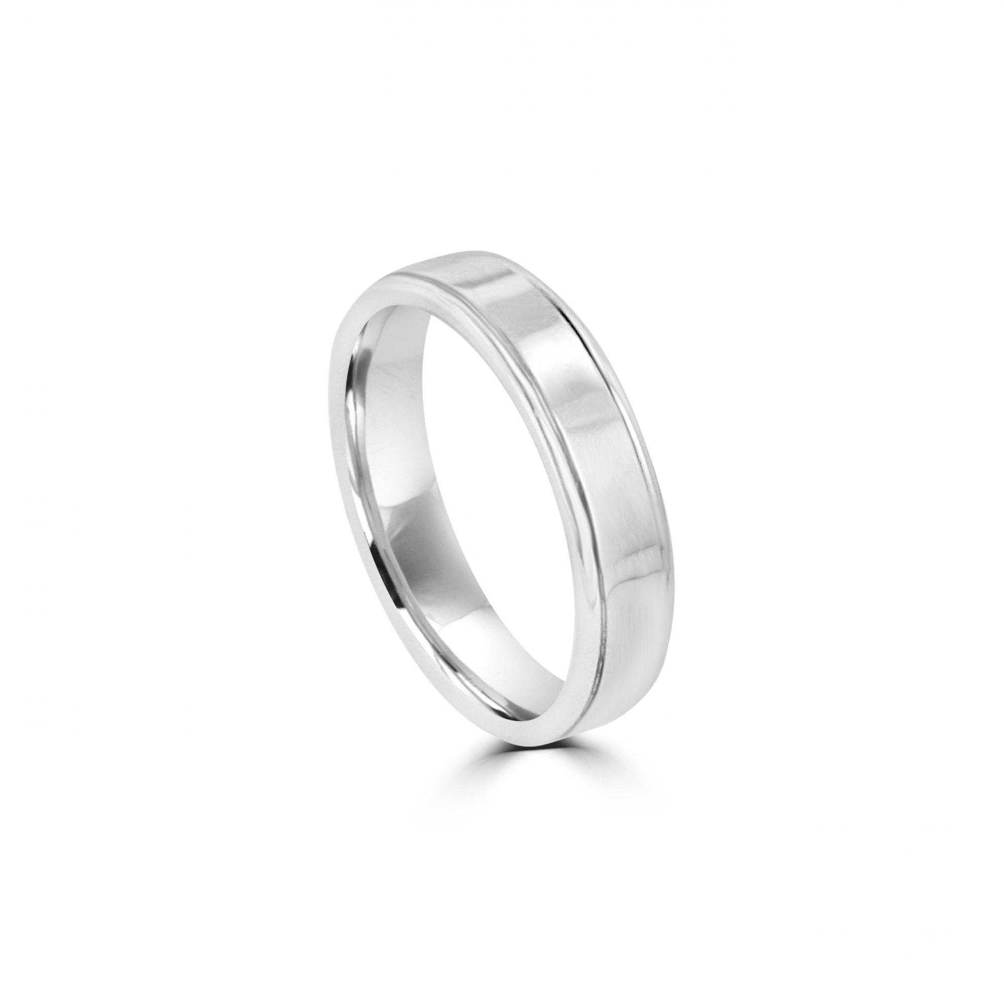 It is a picture of 42mm Wide 42ct White Gold Wedding Band With Tramlines