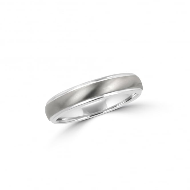 5mm Matt and Polished Titanium Court Wedding Ring RTW30161