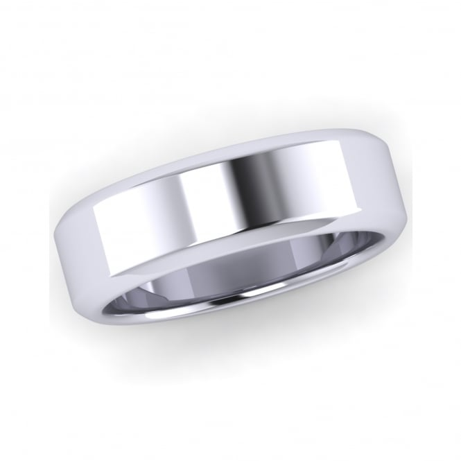 6mm 18ct White Gold Chamfered Edge Wedding Ring