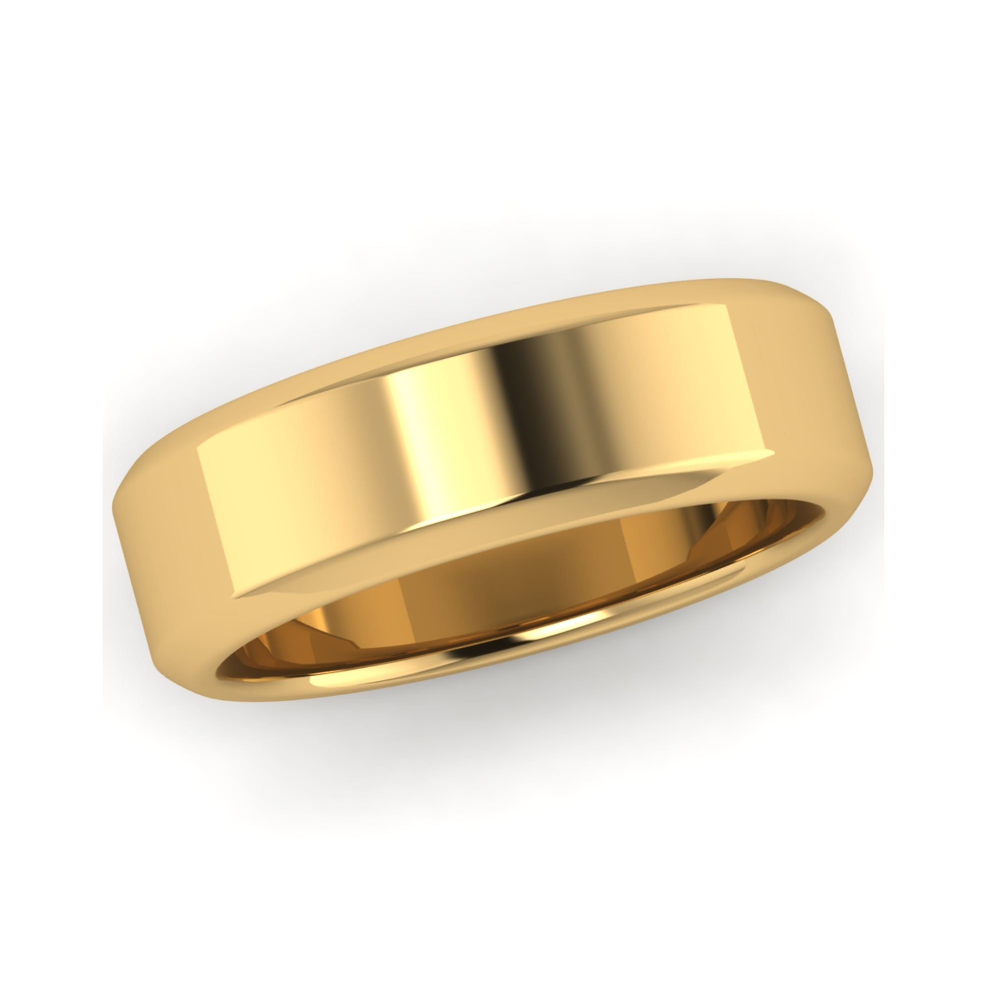 6mm 18ct yellow gold chamfered edge wedding ring mens from