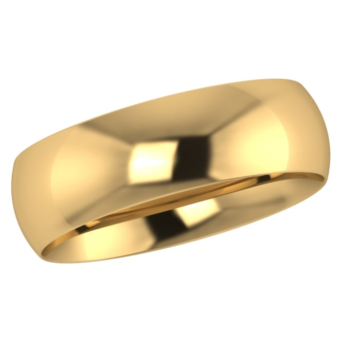 6mm 18ct Yellow Gold Traditional Court Wedding Ring