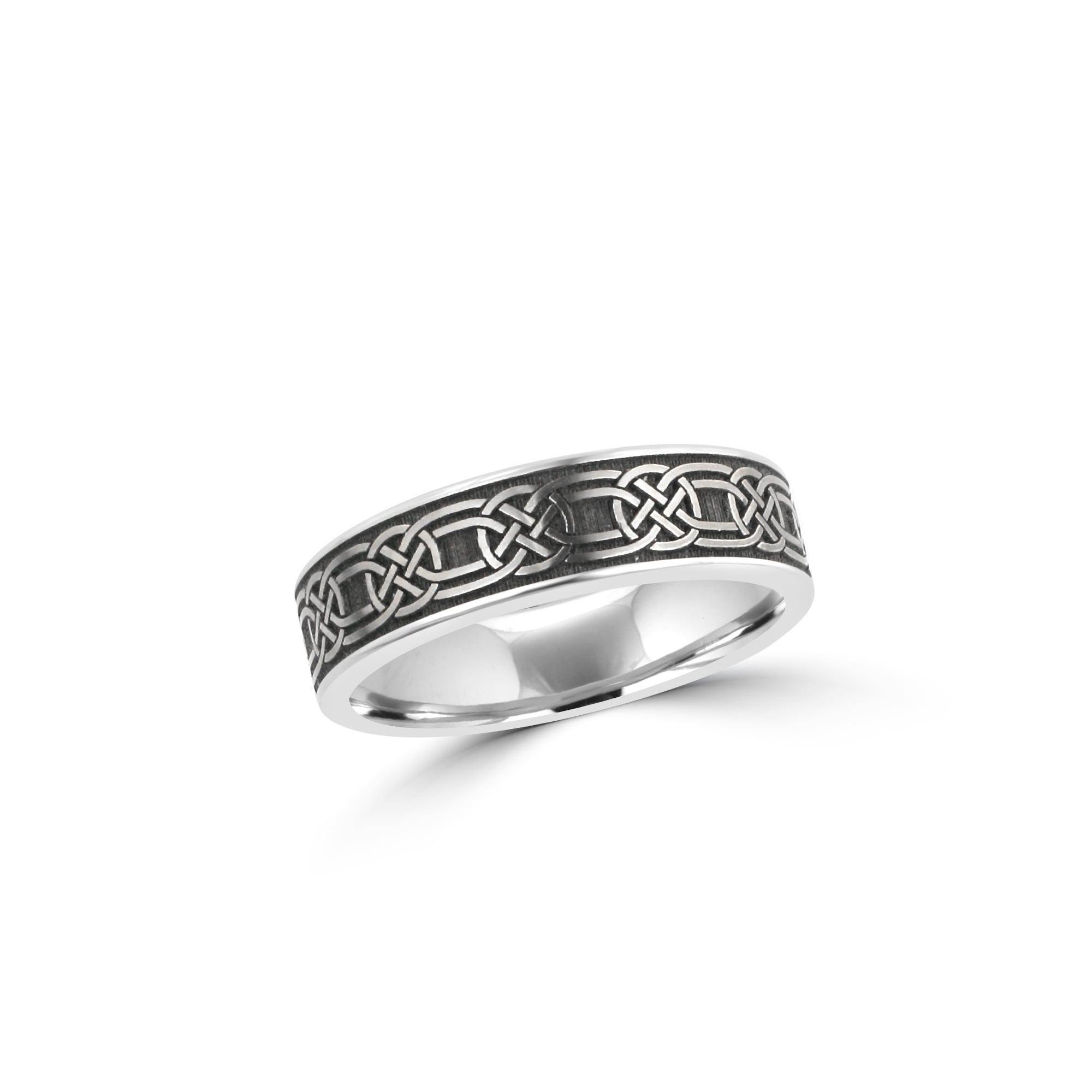 7mm Matt Celtic Pattern Titanium Wedding Ring With Polished Edges