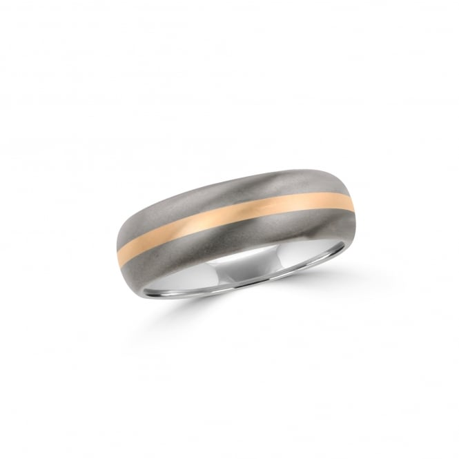 7mm Matt Titanium Court Wedding Ring With 18ct Rose Gold Inlay