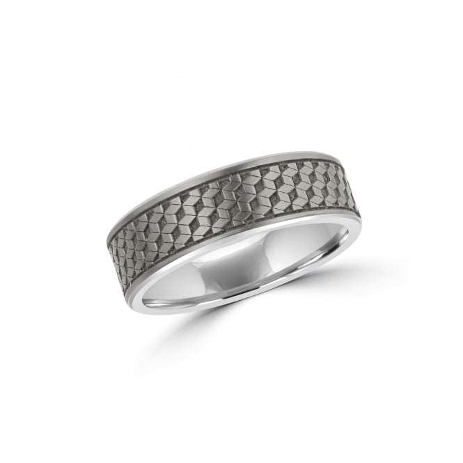 7mm Matt Titanium Wedding Ring With Geometric Pattern