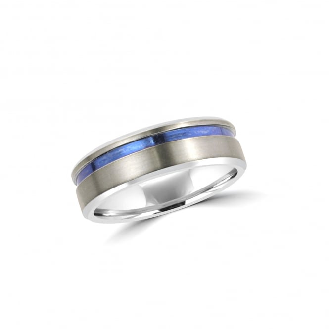 7mm Matt Zirconium Ring With Blue Anodized Band