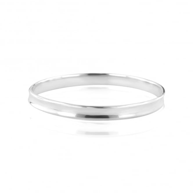 8mm Wide Silver Concave Bangle LS3641