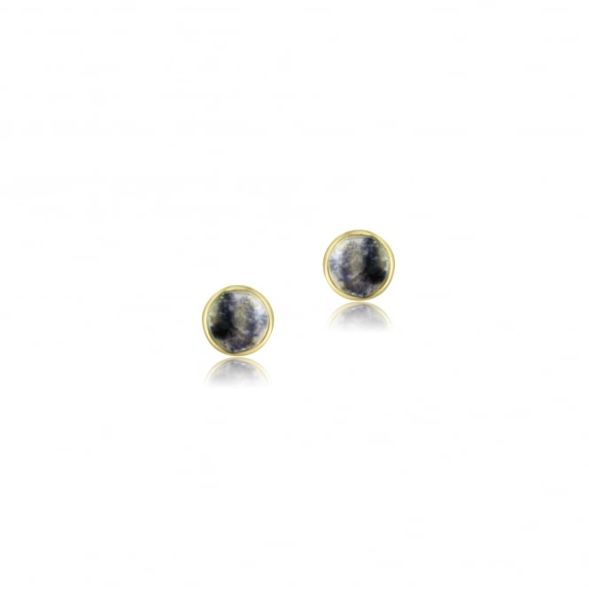 9ct Gold Small Round Blue John Stud Earrings EYT3556