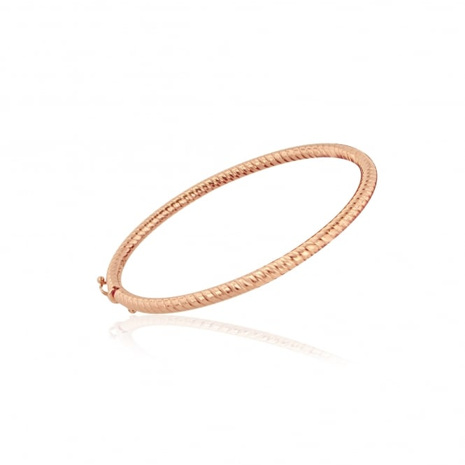 9ct Rose Gold Side Hinged Bangle with Twist Pattern