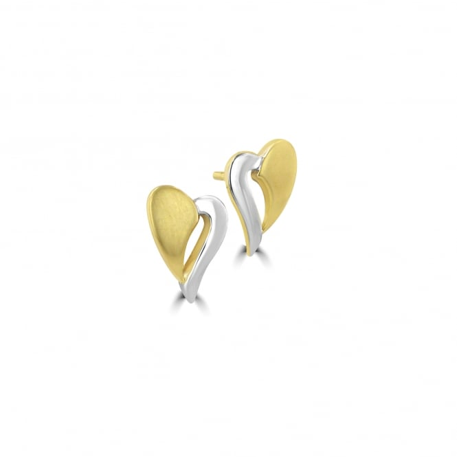 9ct Two Colour Gold Heart Stud Earrings EMT36107