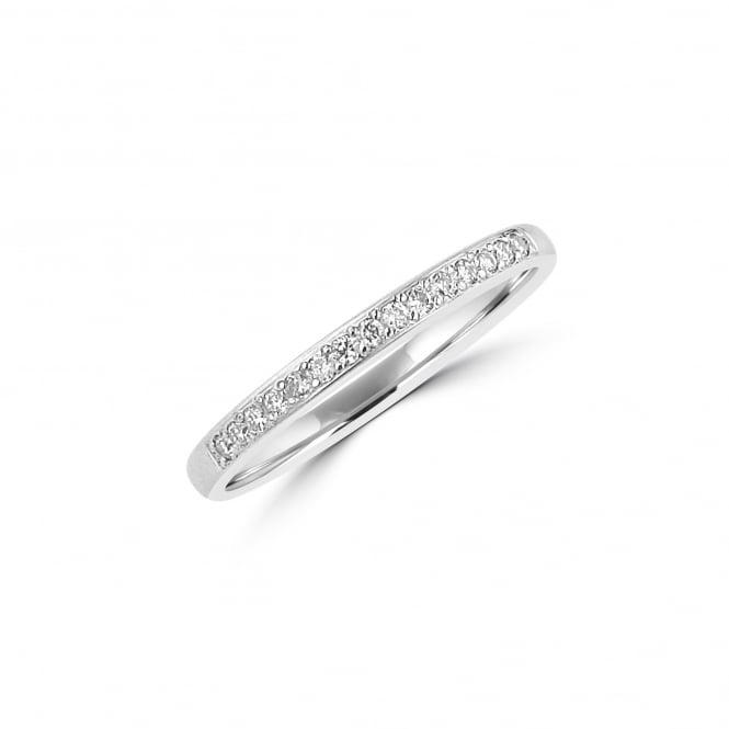 9ct White Gold 2mm Wedding Ring With Round Diamonds