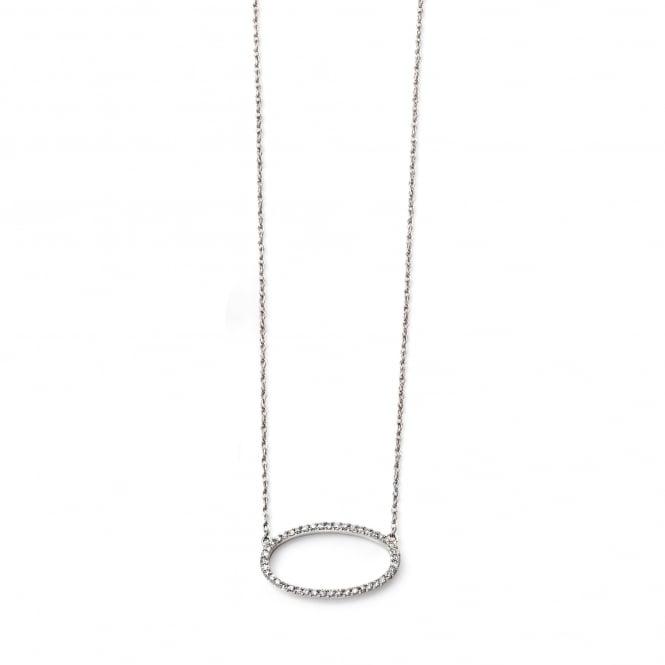 9ct White Gold and Diamond Delicate Halo Necklace