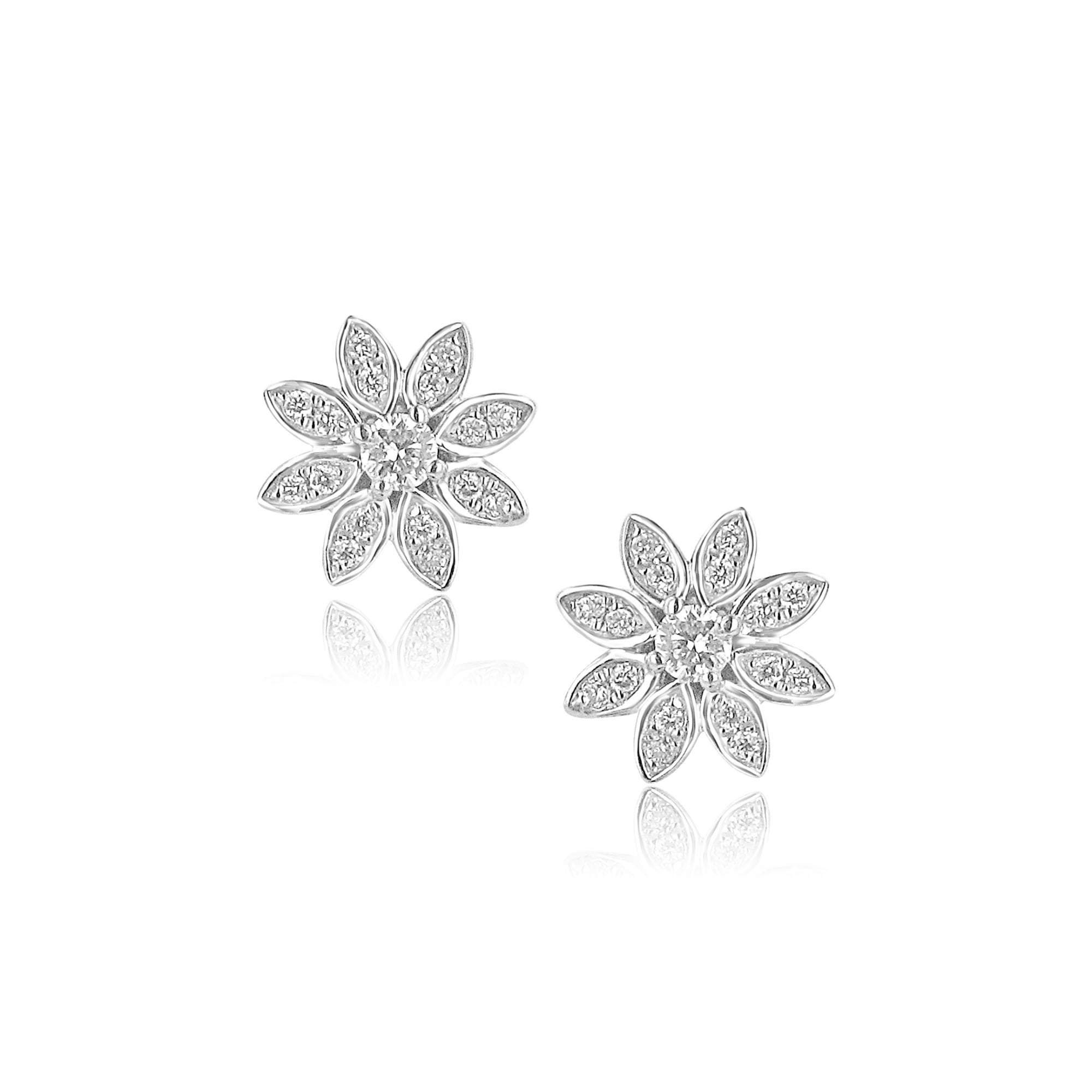9ct White Gold and Diamond Flower Design Cluster Earrings - Womens ...