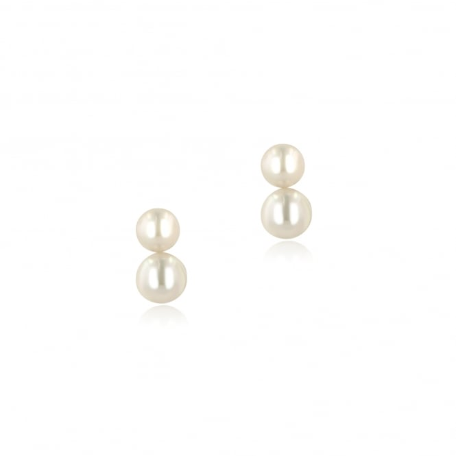 9ct White Gold Double White Pearl Stud Earrings