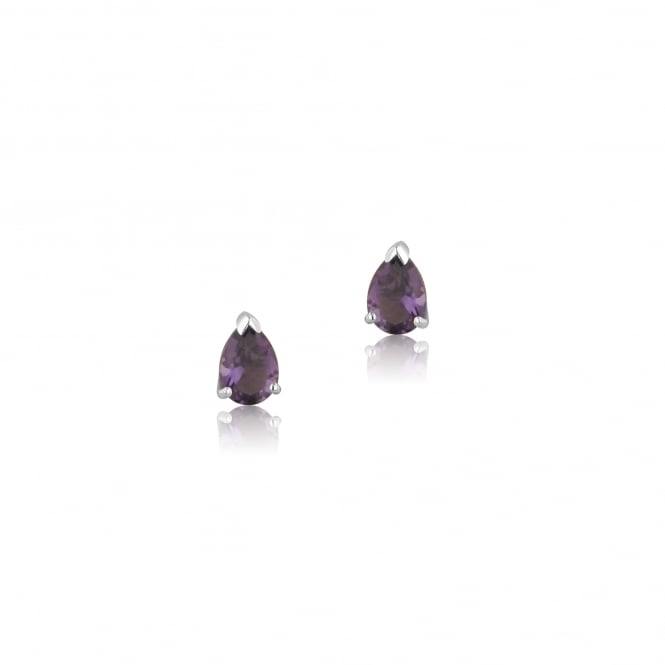9ct White Gold Pear Shape Amethyst Stud Earrings EWT36203