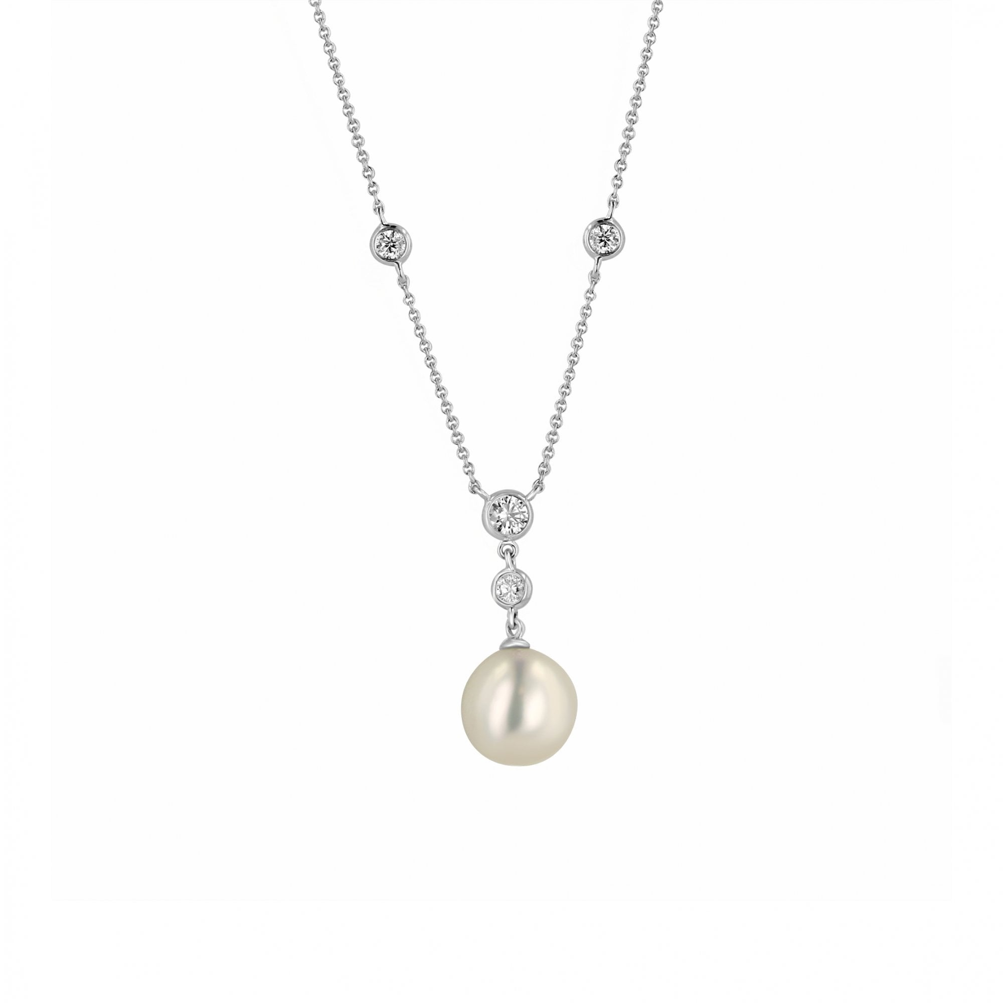 9ct White Gold Pearl And Diamond Bridal Necklace Womens From