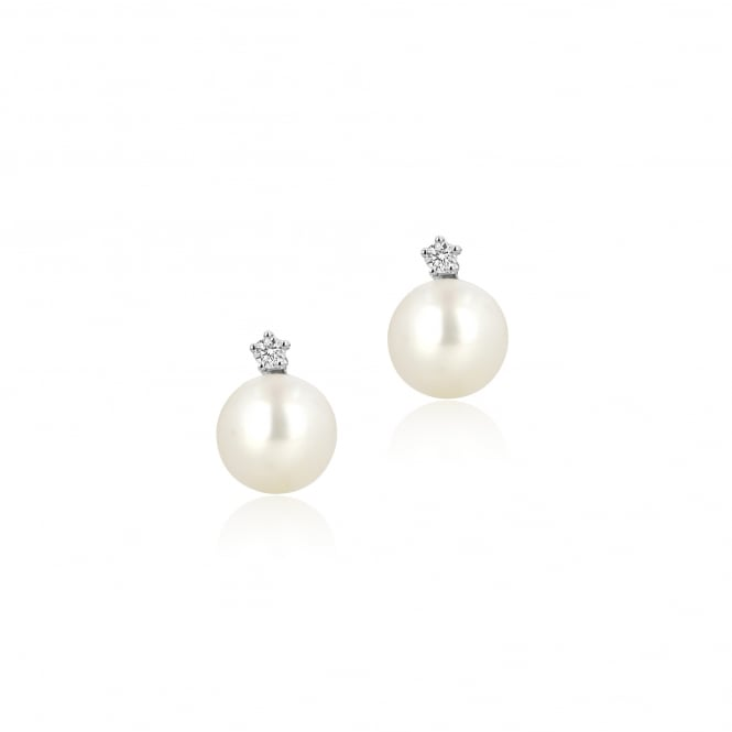 9ct White Gold Pearl and Diamond Earrings