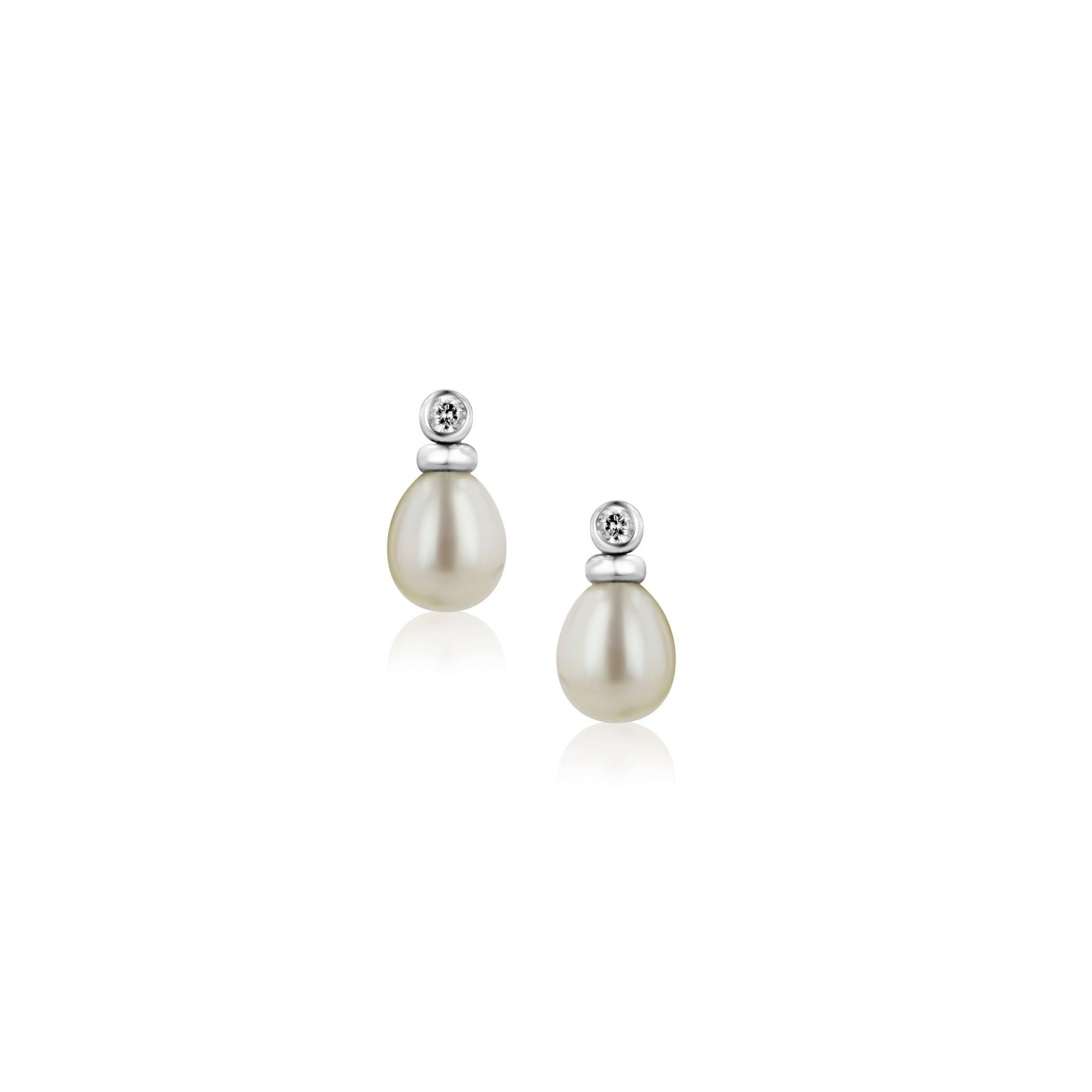 49c4dc490 9ct White Gold Pearl and Diamond Stud Earrings - Womens from Avanti of  Ashbourne Ltd UK