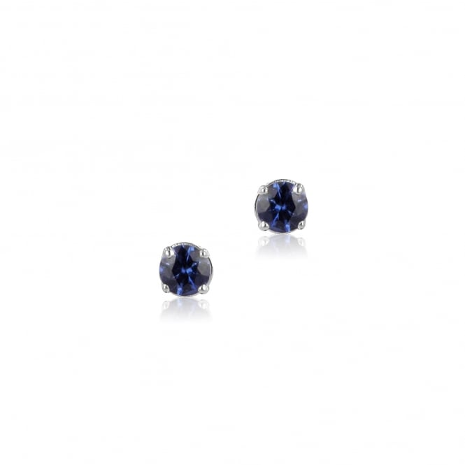 9ct White Gold Round Sapphire Stud Earrings