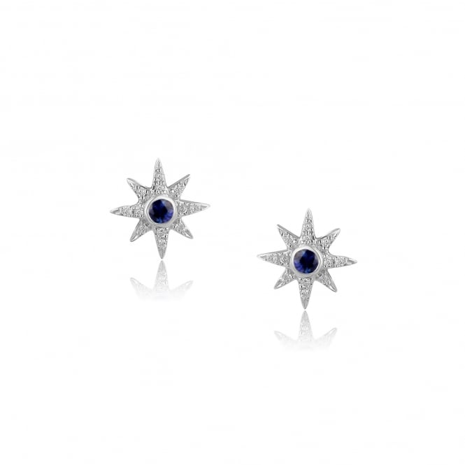 9ct White Gold Sapphire and Diamond Star Earrings
